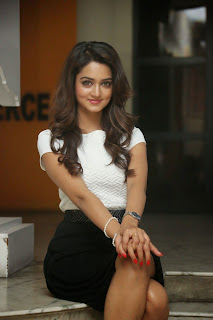 Shanvi Srivastava in Tight Whtie Top and Mini Skirt Lovely Smiling Beauty