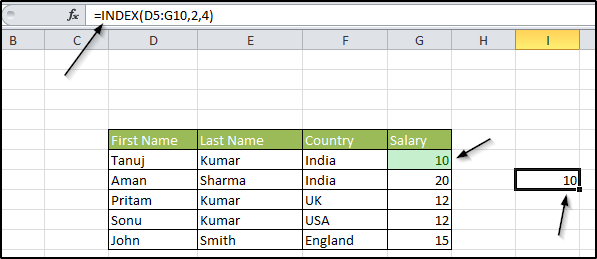 index formula in excel
