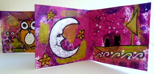 Whoopidooings: Carmen Wing - The Owl & The Pussycat mini accordion book - Mixed Media