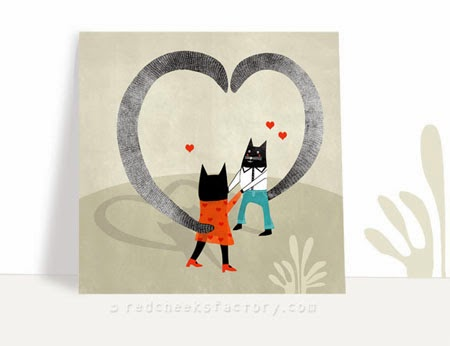 cats in love, a romantic valentine / wedding postcard