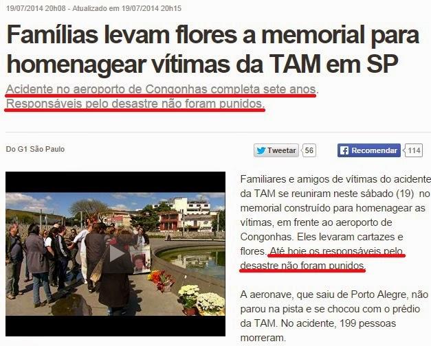 Notícia sobre acidente da TAM em SP, sete anos depois.