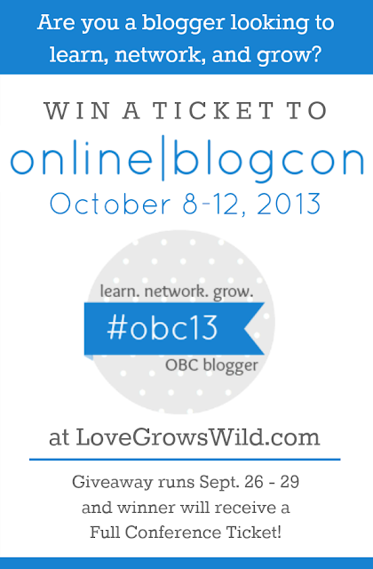Are you a blogger looking to learn, network, and grow? You need to attend Online BlogCon 2013! Win a Full Conference Ticket at LoveGrowsWild.com