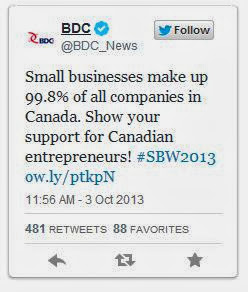 BDC tweet Small Business make up 99.8% of companies