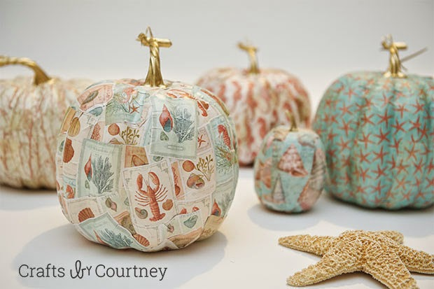 Crafts by Courtney | mod podge coastal pumpkins