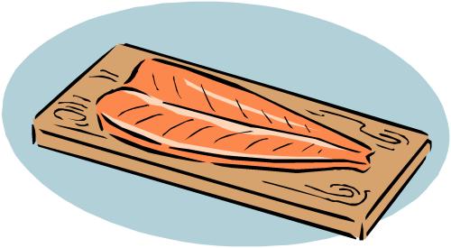 tranche de saumon fumé sur une planche à découper (dessin)