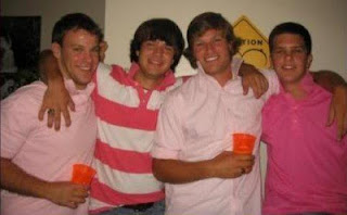 Mid-2000s frat boys wearing pink polo shirts popped collars douchbags morons idiots