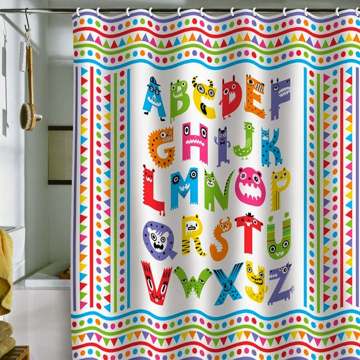 Curtain Ideas Alphabet Themed Shower Curtains