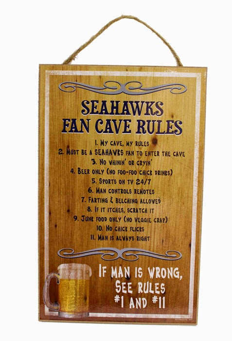 Seahawks Fan Cave Rules - great gift for dad!