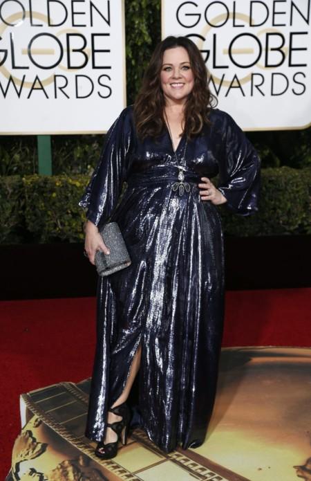 Melissa McCarthy vestida de Melissa McCarthy en los Golden Globes, enero 2016