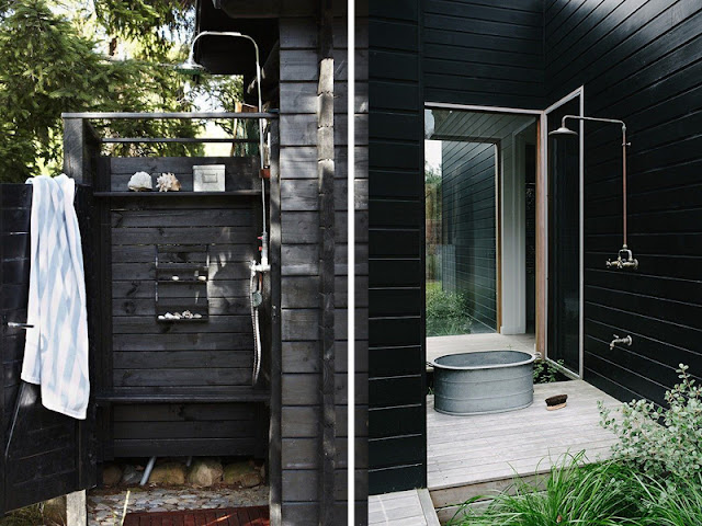 outdoor shower, scandinavian interior styling via http://www.scandinavianlovesong.com/