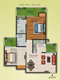 Czar Suites :: Floor Plans:-Nicolas-3 Area - 1085 sq. ft.