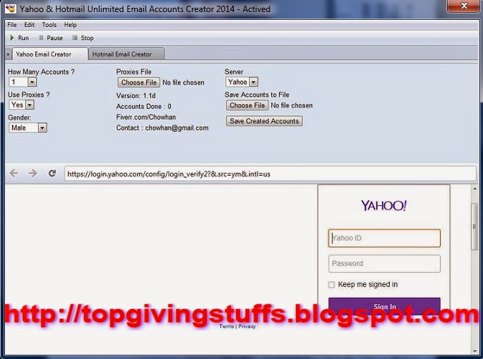 Yahoo and Hotmail Unlimited Email Accounts Creator 2014