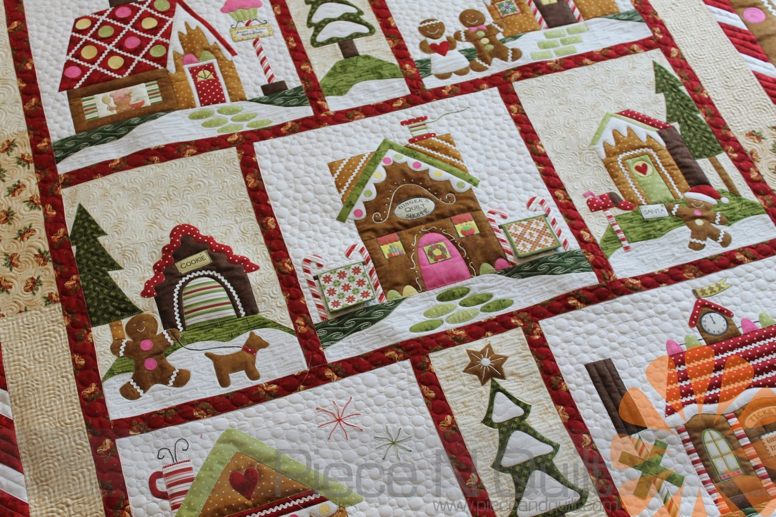 Piece n quilt gingerbread village quilt custom machine quilting by natalia bonner - Quilt rits ...