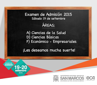 Ingresantes Examen Universidad San Marcos 2016 I resultados 19 de Setiembre