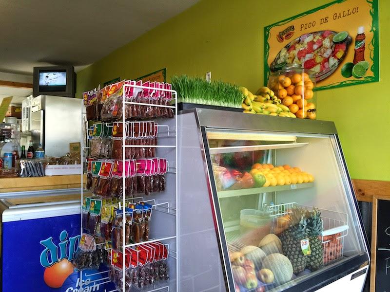 Fresh fruit on display at Papayas Juice Bar and Fruteria