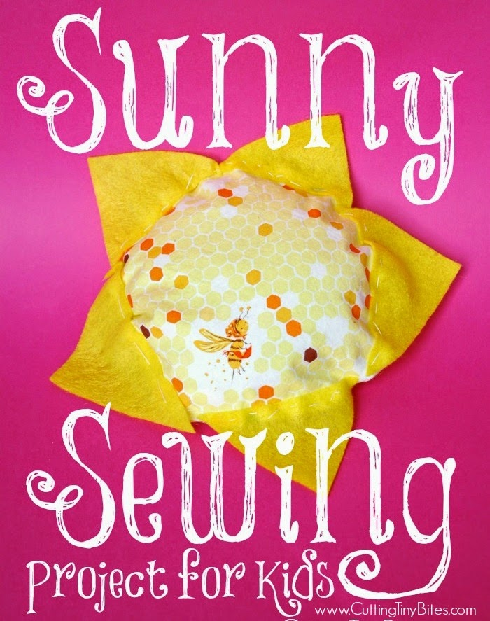 Sunny Sewing Project for kids- Perfect first sewing project for kids. Make a bright and cheerful sunshine for a preschool or kindergarten weather theme unit.