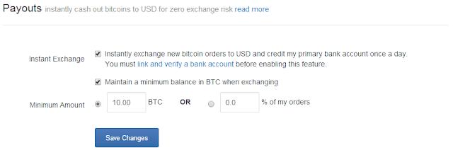 Instant exchange of bitcoins