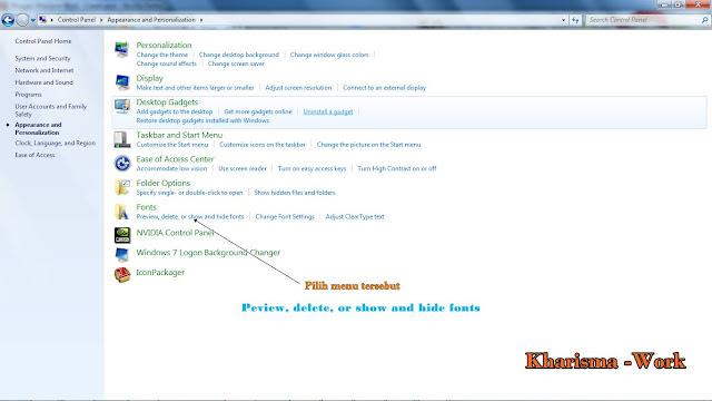 Cara menambah atau memasukan koleksi font di Windows 7