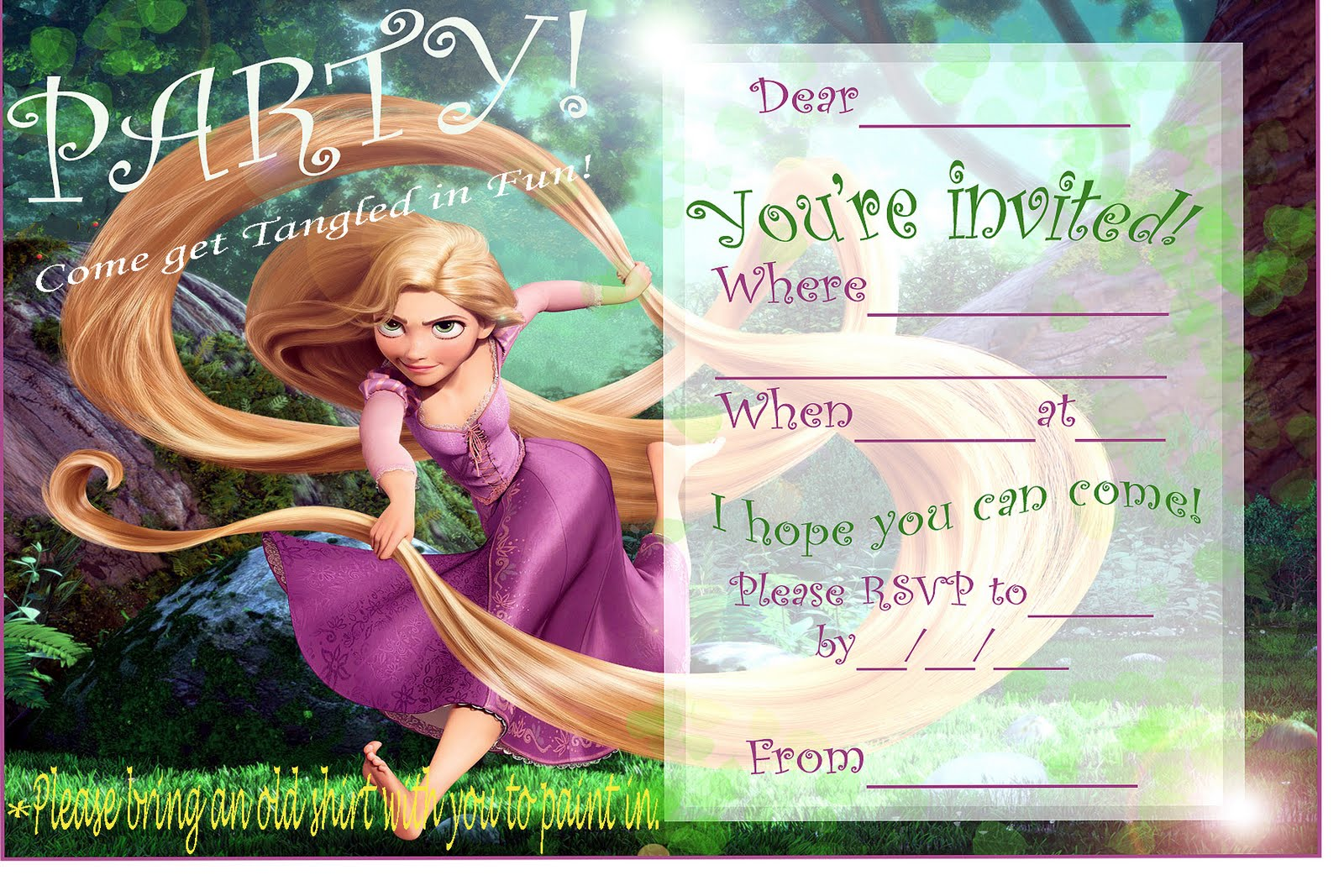 40th Birthday Ideas Rapunzel Birthday Invitation Templates