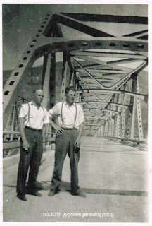 William Demoskoff and Walter Barisoff on Kettle Falls bridge in Washington state