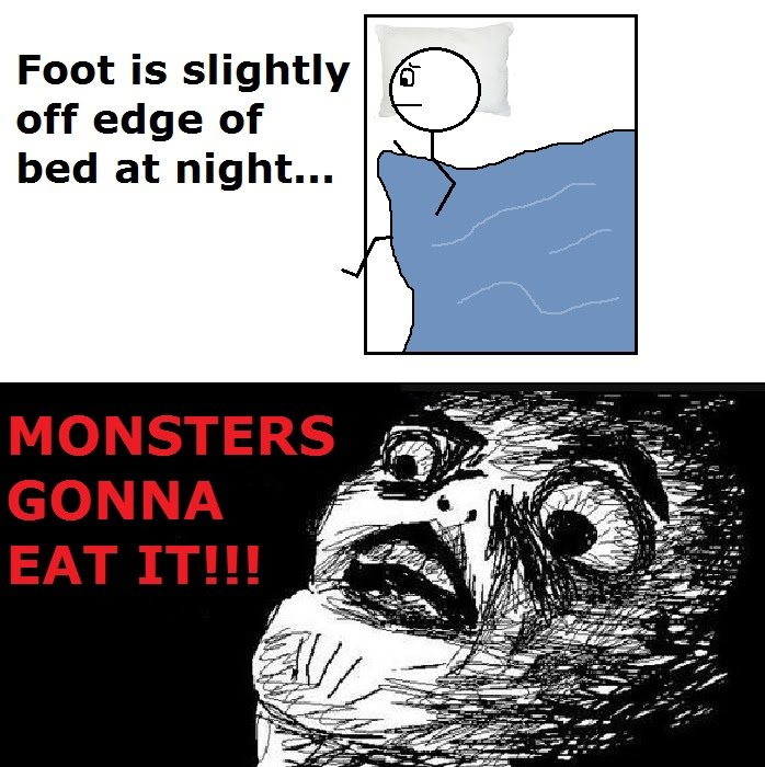 Foot Is Slightly Off Edge Of Bed At Night - Monster Gonna Eat It