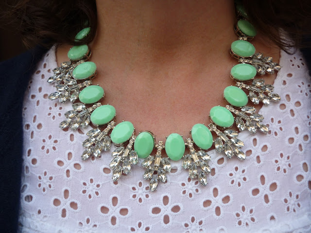 Embroidery Anglaise Blouse & Yosa Mint Statement Necklace | Petite Silver Vixen