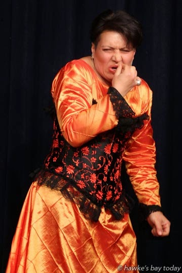 Olga McClunie, playing Beatrice the Sorceress, in a dress rehearsal for Rapunzel at Aubyn Live Theatre, Hastings. photograph