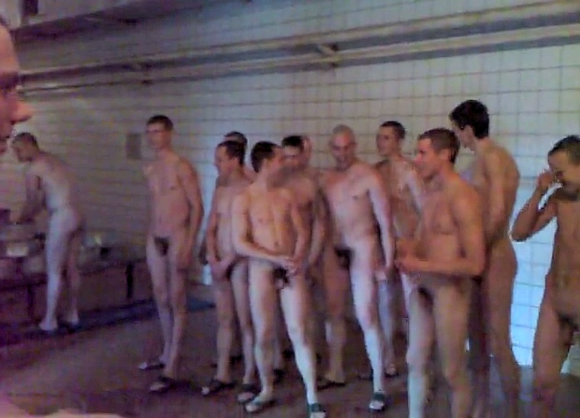 Men Military Nude Army Shower