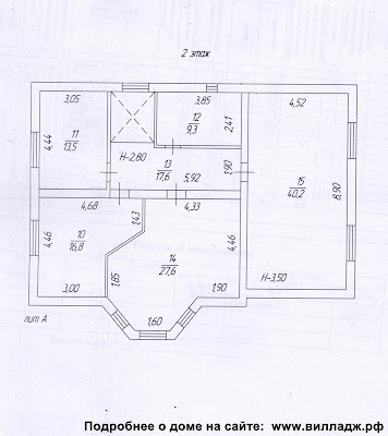 Дом в Солнечногорском районе. План дома - второй этаж