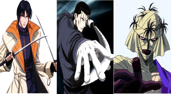 Samurai X Rurouni Kenshin Notable Villains Shinomori Aoshi, Saito Hajime, and Shishio Makoto