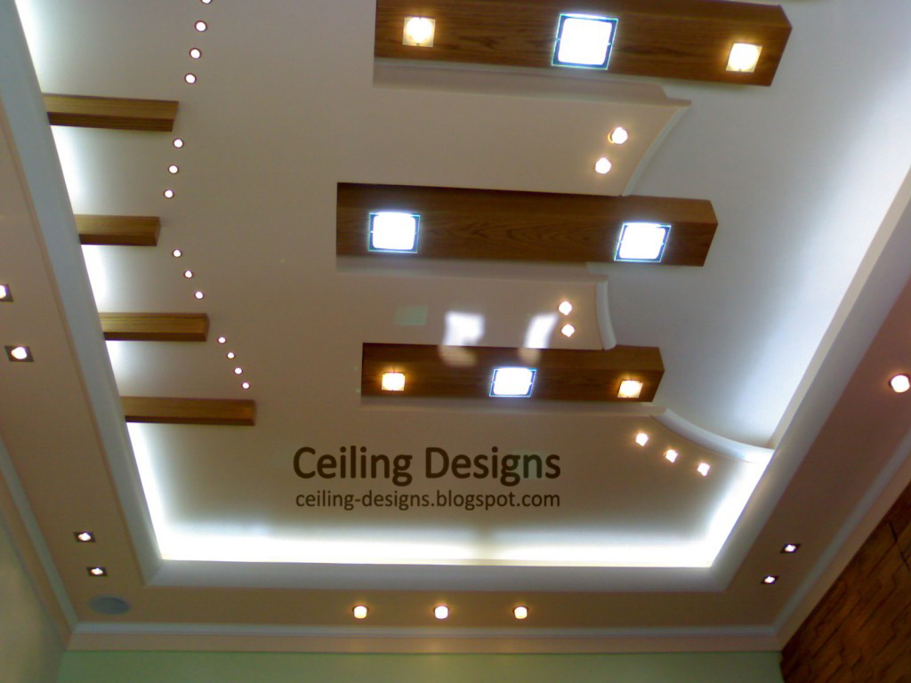 Tray Ceiling Design With Gypsum False And Wood Panels