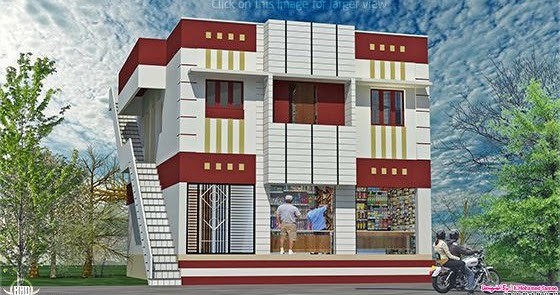 Home with ground floor shops in 2000 kerala home for 2000 sq ft shop plans