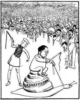 ambedkar, nehru, indian constitution, shankar cartoon