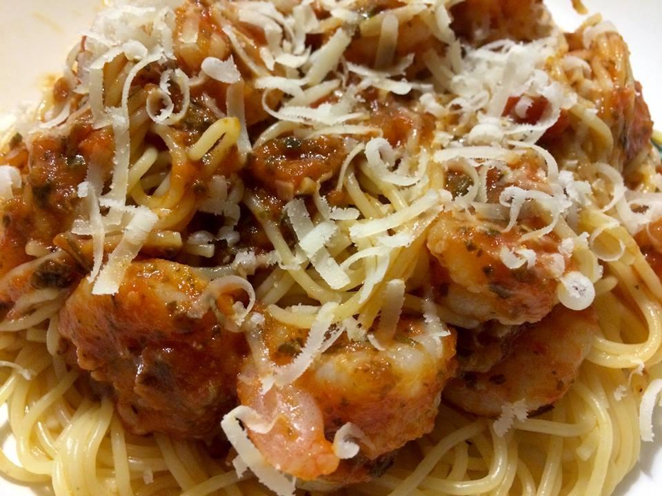 Culinary Cox Sisters Shrimp With Marinara Pesto Sauce And Angel