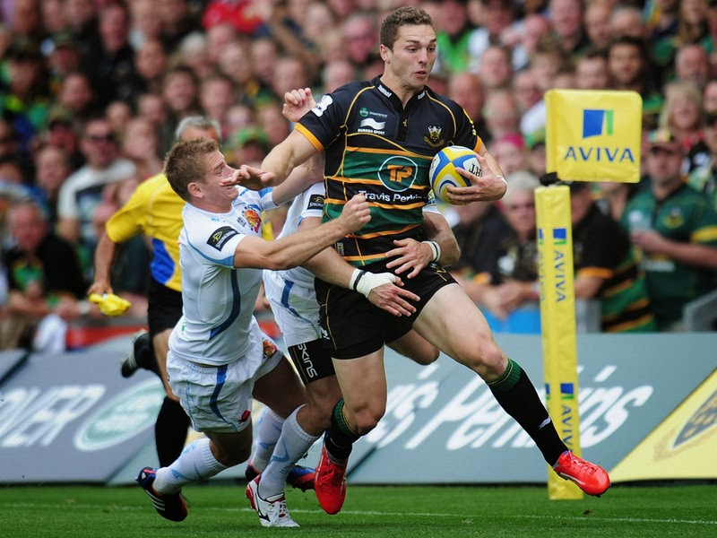 George North, Northampton, Saints, rugby, Wales, Aviva, Premiership