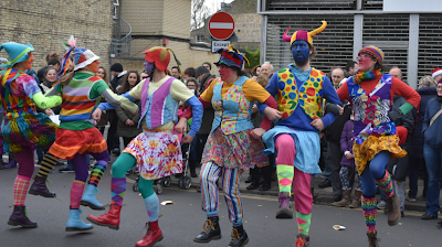 Gog Magog Molly dancers in a line