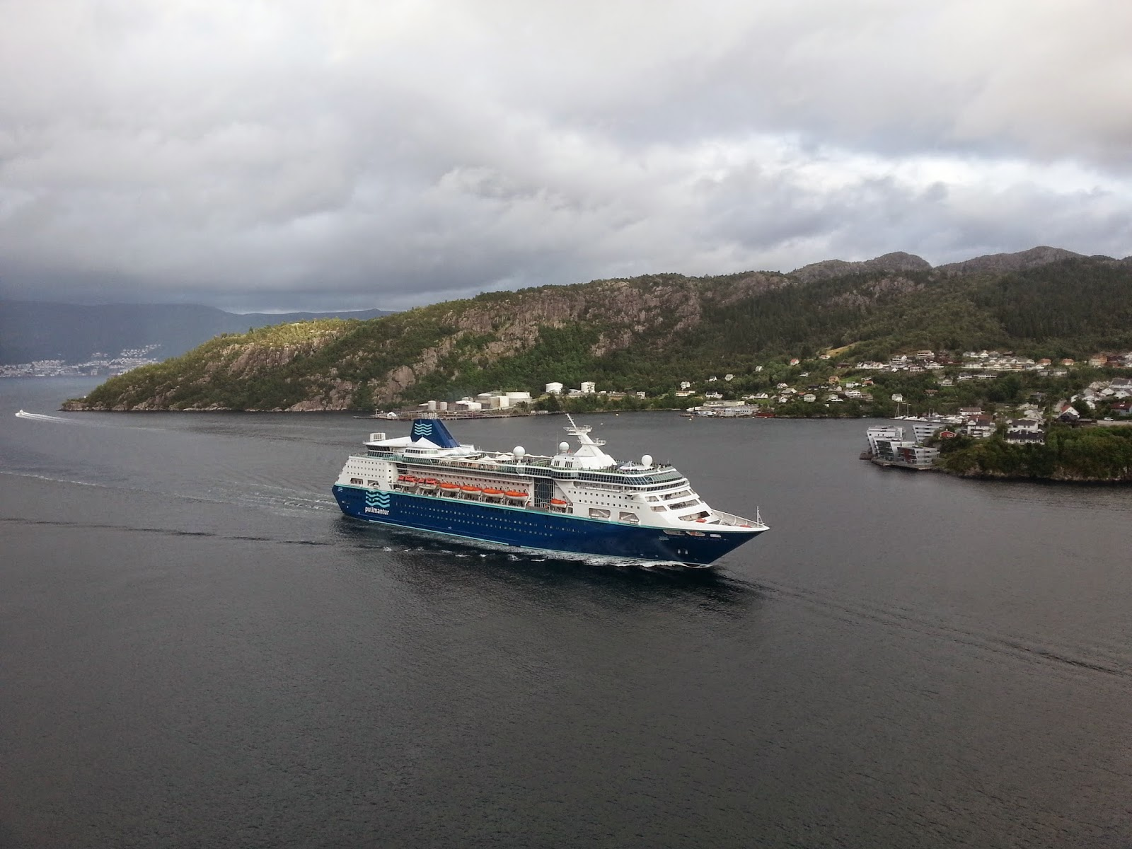 Cruise Ship Empress passes under the Askøy Bridge, Bergen