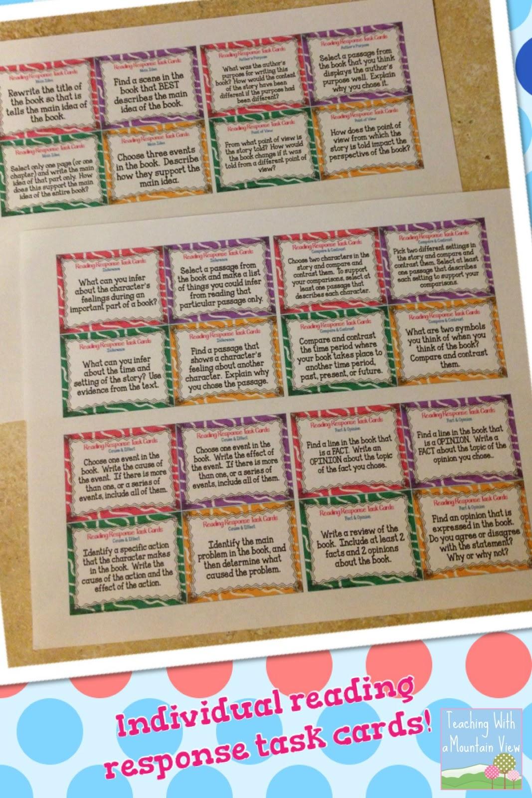 main idea task cards pdf