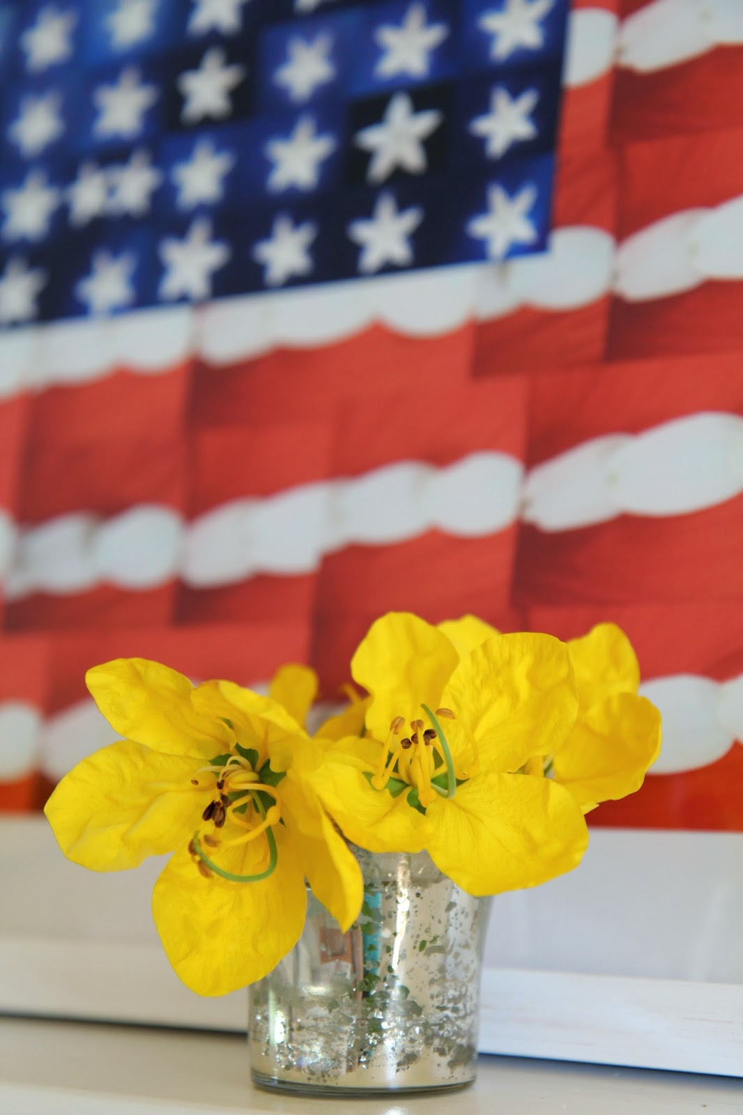 Fourth of July Decor Foyer; Yellow Flowers and American Flag; Nora's Nest