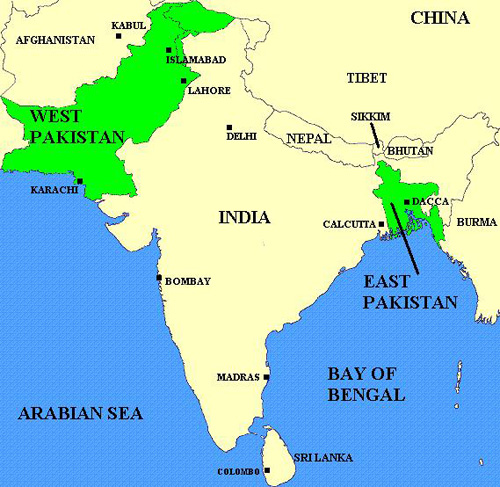 Pakistan Decolonization The Pakistani Civil War - World map pakistan