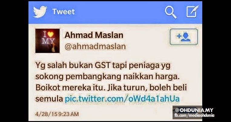 Pembangkang punca harga barang naik, bukan GST - Ahmad Maslan