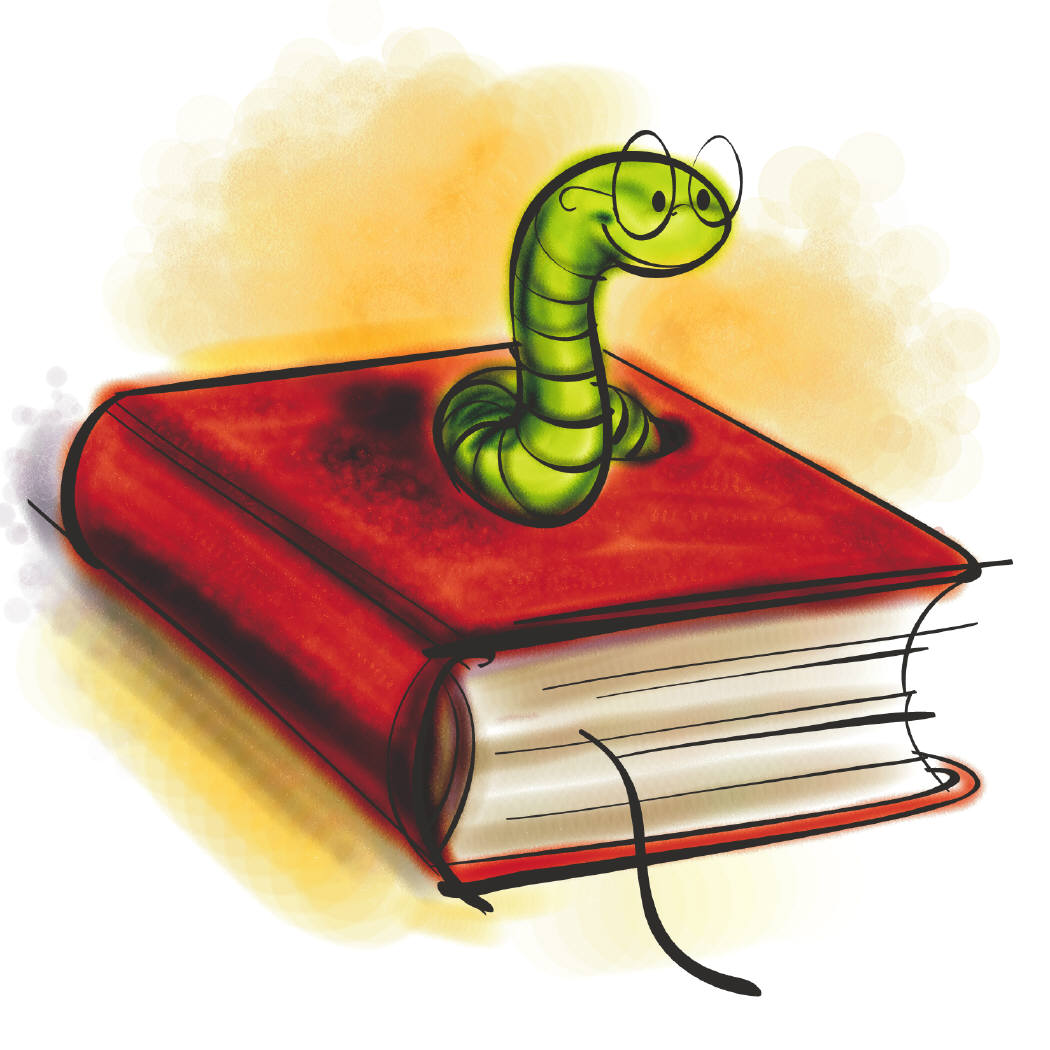 illustrated image of a green worm wearing glasses coming out of a red book.  Children's Chapter Books for Reading Aloud @ATIPicalDay #Books #readinglist #summerreading #readingaloud #childrensliterature #kidsbooks #childenchapterbooks