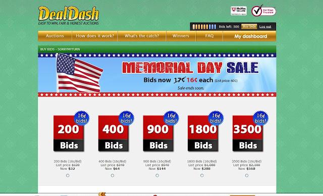 DealDash Shopping Bid Packages