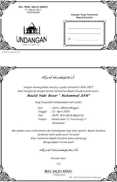 Download Contoh Undangan Maulid Nabi Muhammad SAW