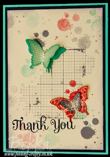 Butterfly Thank You Card featuring Papillion Potpourri, Off the Grid and Gorgeous Grunge Stamp Sets by UK Based Stampin' Up! Demonstrator Bekka Prideaux - check her blog for lots of great ideas with these stamp sets - you can even purchase them there!