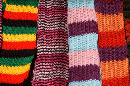 Knit scarf as holiday gift