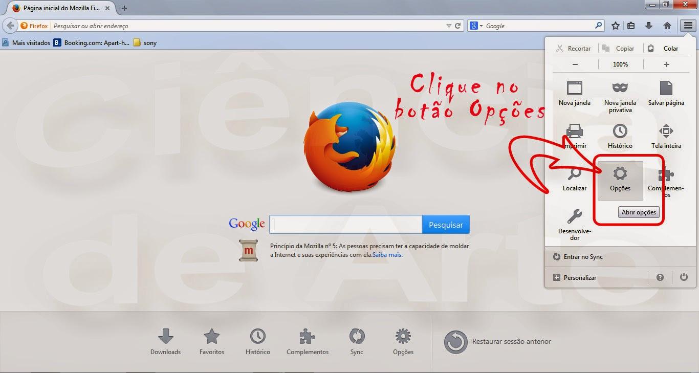 Como colocar o google como página inicial no Mozilla Firefox 2