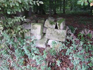 Steine in der Nähe der Pfostenschlitzmauer-Rekonstruktion des Oppidums Finsterlohr-Burgstall