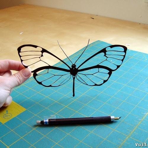 Cắt giấy thủ công hình cánh bướm