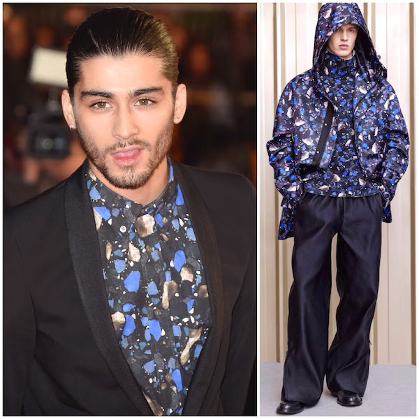Zayn Malik wears Acne Studios Fall Winter 2014 Isherwood stones print shirt to NRJ Music Awards at Palais des Festivals Cannes France 13th December 2014